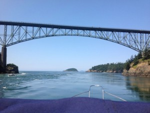 Passing under the Deception Pass bridge