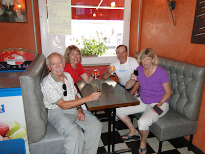 Rich, Dawn, Henry and Jill enjoying our first glass of French wine at our Digoin hotel.