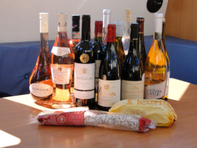 Our daily supply of wine, cheese and saucisson