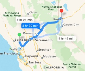 Day 1: Yountville, CA to Reno, NV