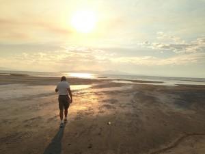 Wind-swept and barren Great Salt Lake shoreline