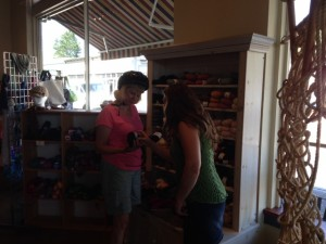 Jill shopping for yarn in Olympia