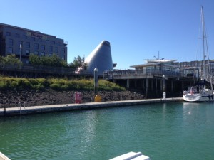 Looking towards Tacoma Glass Museum from the boat