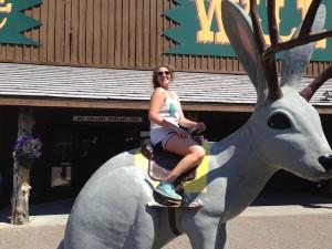 Chris riding a jackalope