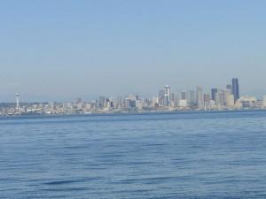 Seattle skyline entering Eagle Harbor, Bainbridge Island