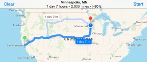 Yountville, CA to Minneapolis, MN: 2,030 miles/3,266 KM