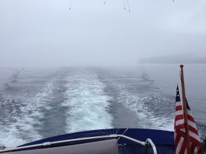 Boat wake in lifting fog