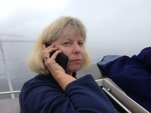 Jill on the phone in a fog