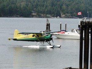 Float plane approaching Poets Cove Customs dock