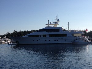 Mega yacht moored at Roche Harbor