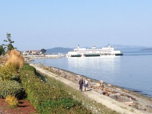 Sidney waterfront walking & jogging trail with WA State Ferry