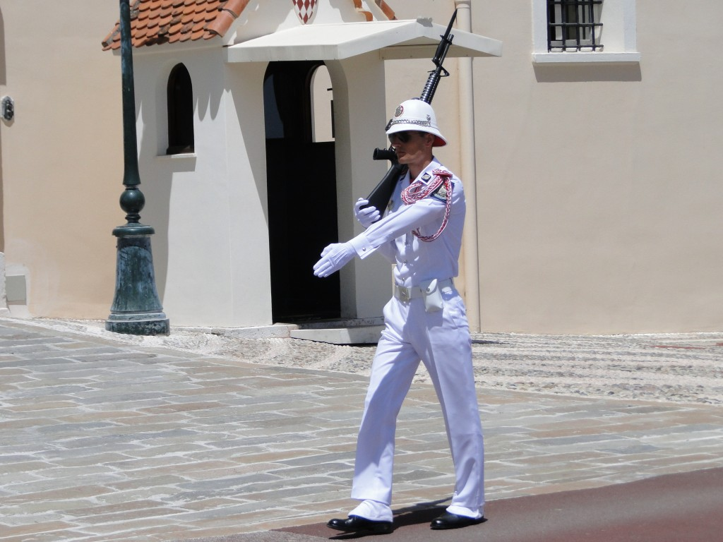 One of the 80 members of the Monaco military guarding the Price from invading tourists