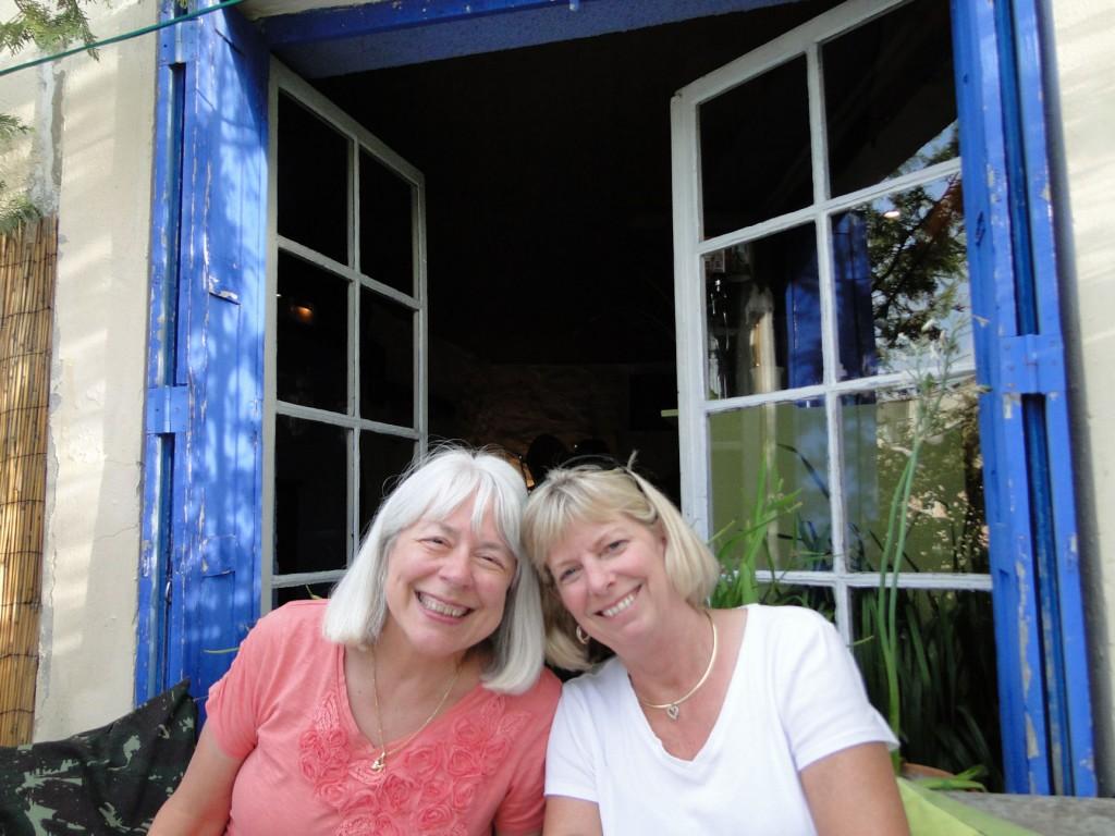 Dawn Davis and Jill Lehman in Vaison-la-Romaine at the Belle Epoch restaurant