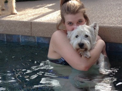 Chris and Brillo in the pool