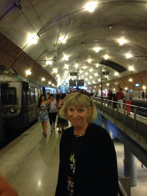 Jill in the very modern and upscale Monaco train station