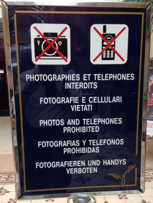 No picture-taking or stock broker-calling