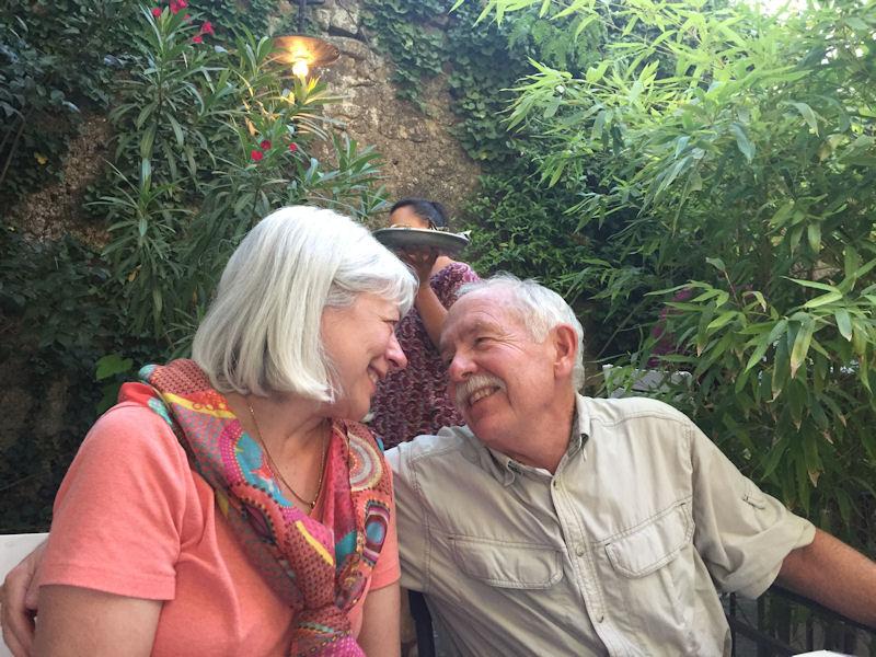 Dawn and Rich Davis enjoying dinner in St Rémy.