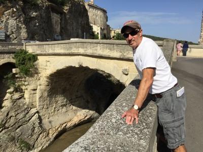 Henry Warner admiring the fine 100 AD Roman bridge still in use