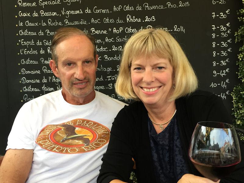 Henry Warner and Jill Lehman at dinner in Villefranche-sur-Mer