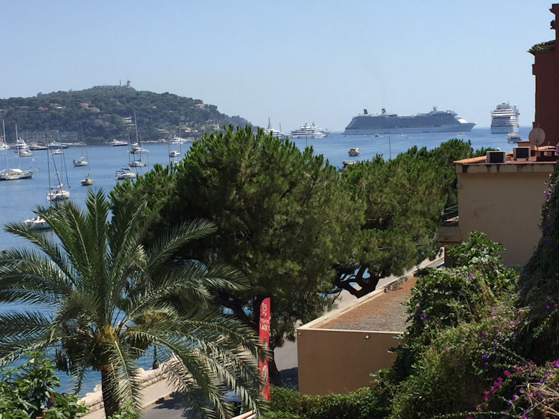 Two cruise ships in the Villefranche harbor.