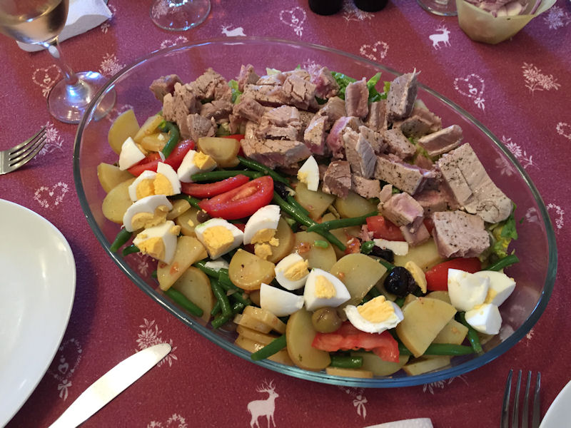 Delicious Salade Niçoise (with seared tuna) prepared by Jill after returning from Nice.