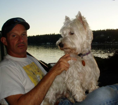 Brillo and Henry enjoying the summer sunset shortly after moving to Bainbridge Island 2006