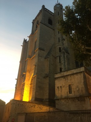 Capestang church at twilight