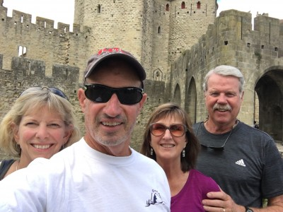 Jill, Henry, Dizela and Roger outside the Carcassone walls.