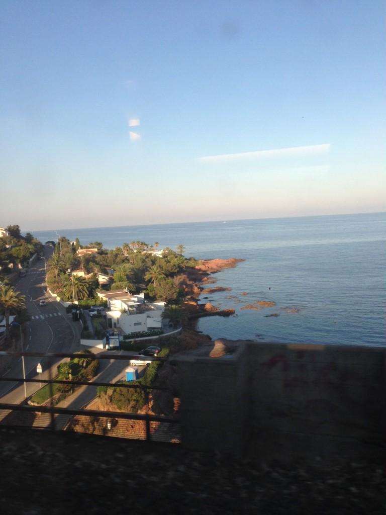Coastline scene from train window