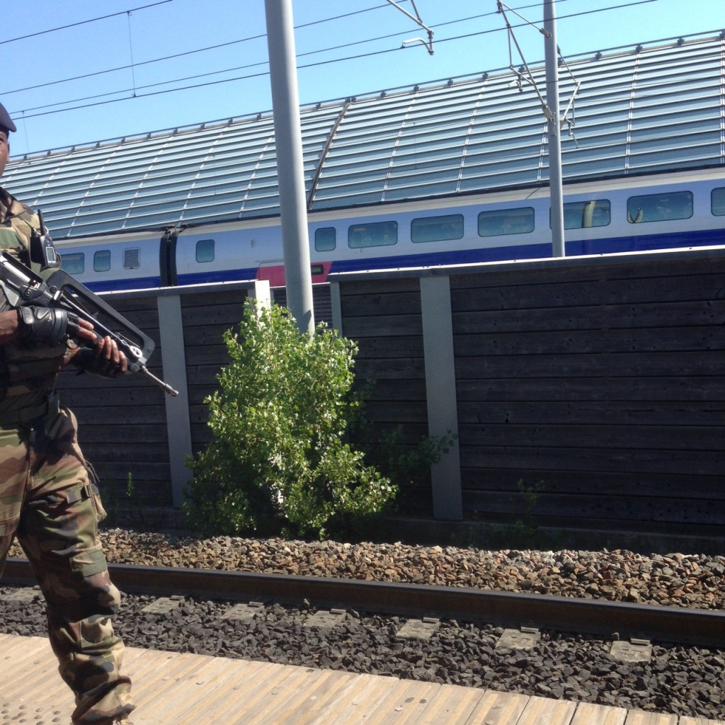 One of four soldiers patrolling Avignon train station.  Picture taken surreptitiously.
