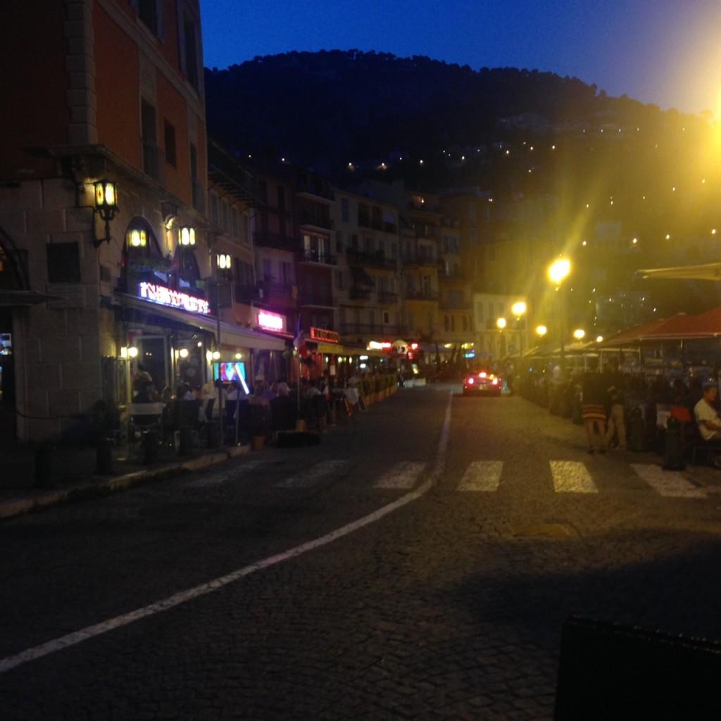 Villefranche promenade at night